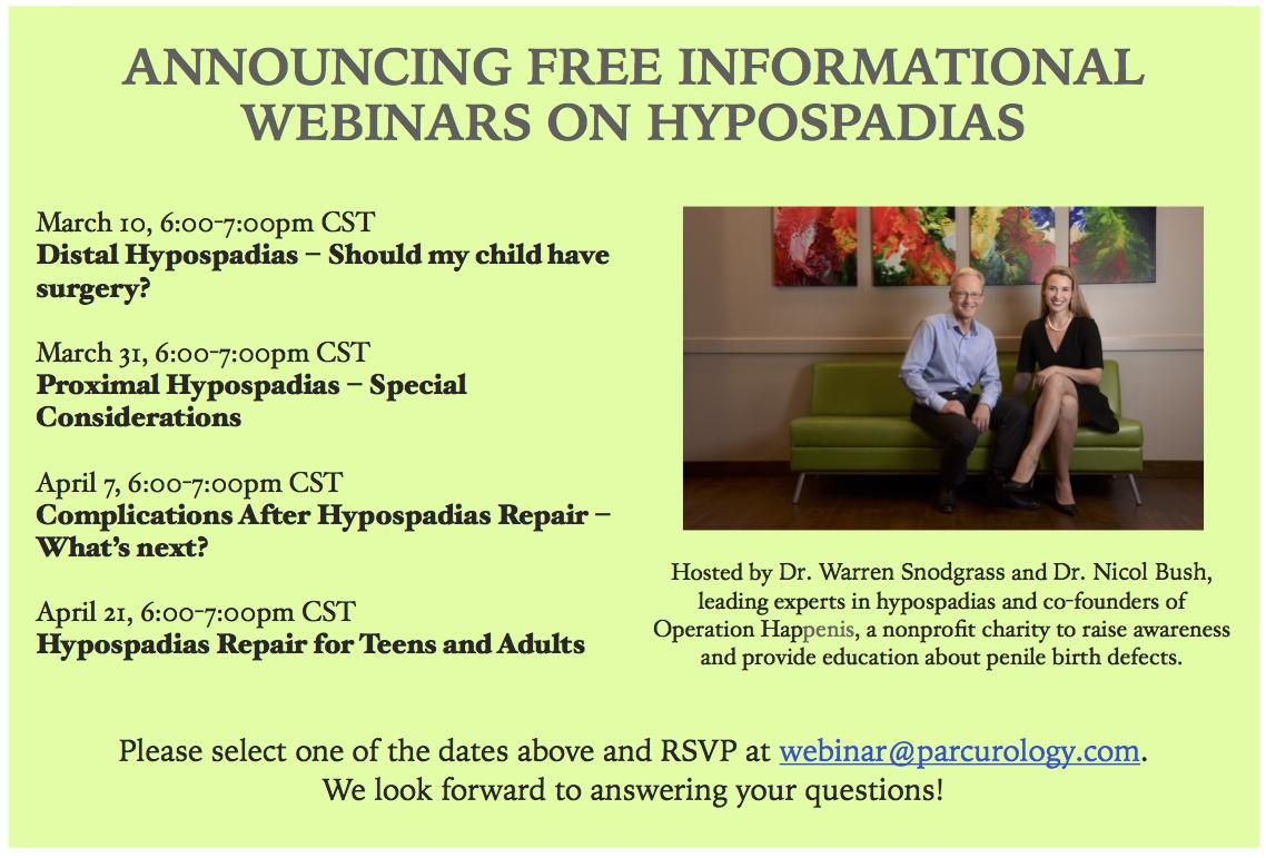 new educational webinars about hypospadias